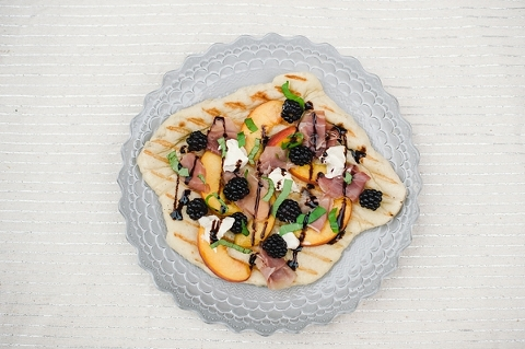 Peach blackberry and goat cheese grilled flatbread pizza-7