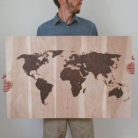 WOOD BURNED WORLD MAP Grace Salt
